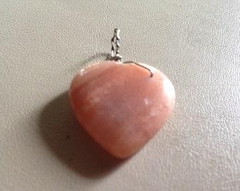 Small Heart Pendant, Pink Aventurine Pendant, Carved Heart Pendant, Pink heart Pendant, Carved Pendant, Valentine Gift, Heart Jewelry