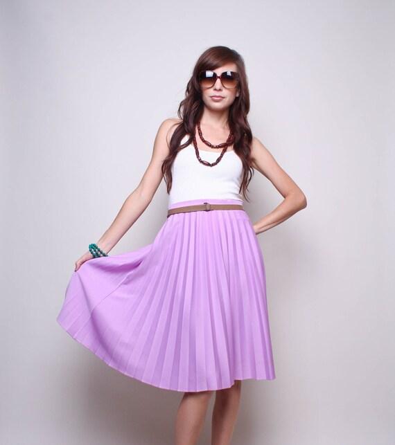 70s Skirt - High Waist Lavender Skirt - Pleated Vintage Skirt - 1970s Boho Skirt - M L