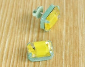 Vintage Acid Yellow Rhinestone earrings with Seafoam Powdercoat