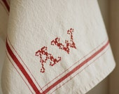 Personalized French Stripe Kitchen Towel with hand-stitched initials - RED