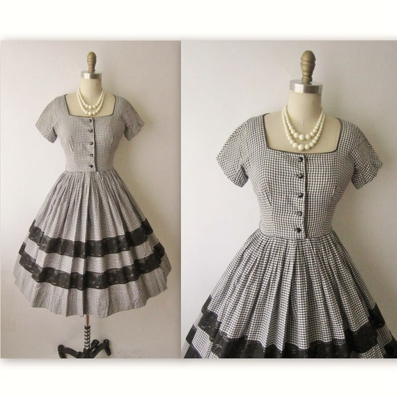 50's Gingham Dress // Vintage 1950's Black & White Gingham Cotton Lace Shirtwaist Garden Party Dress S