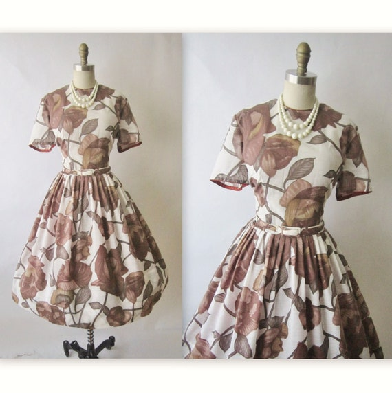 50's Casual Dress // Vintage 1950's Paisley Flloral Print Cotton Garden Party Day Dress L