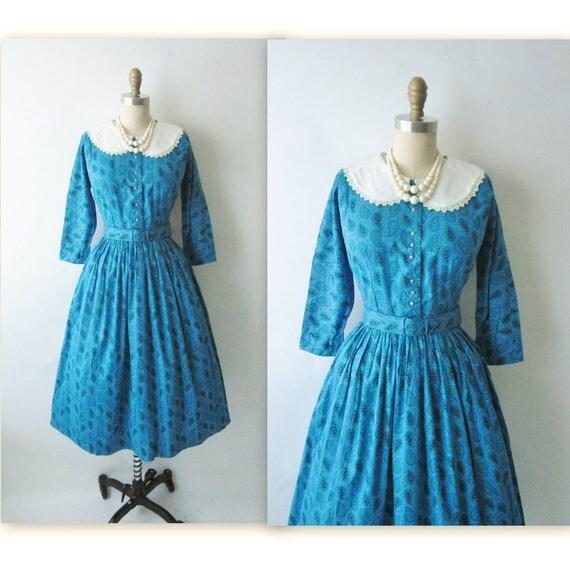 50's Paisley Dress // Vintage 1950's Paisley Print Cotton Garden Party Mad Men Casual Day Dress M