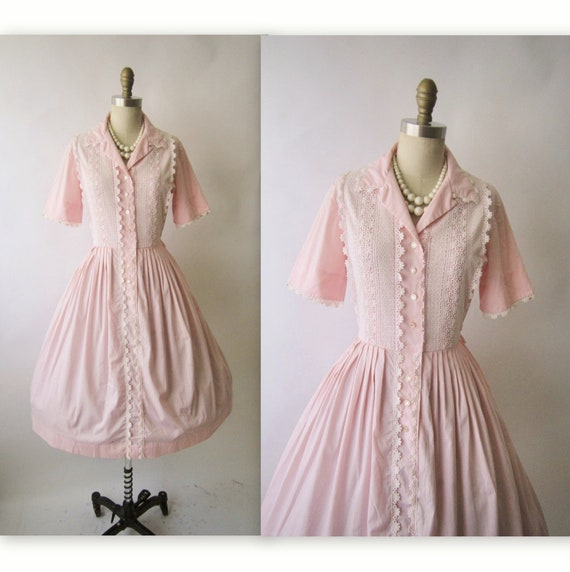 50's Shirtwaist Dress // Vintage 1950's Pink Embroidered Lace Cotton Garden Party Shirtwaist Dress M