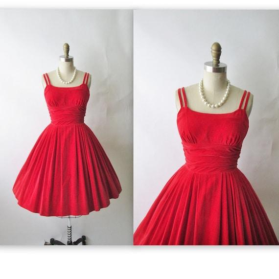 50&39s Velvet Dress // Vintage 1950&39s Red Velvet by TheVintageStudio