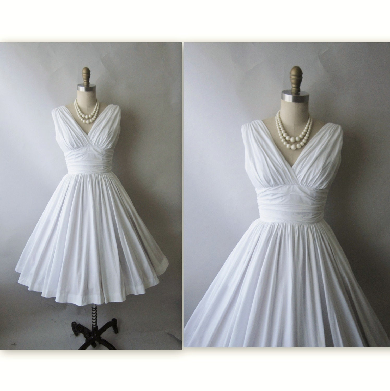 50 s Marilyn Dress Vintage 1950 s White Cotton