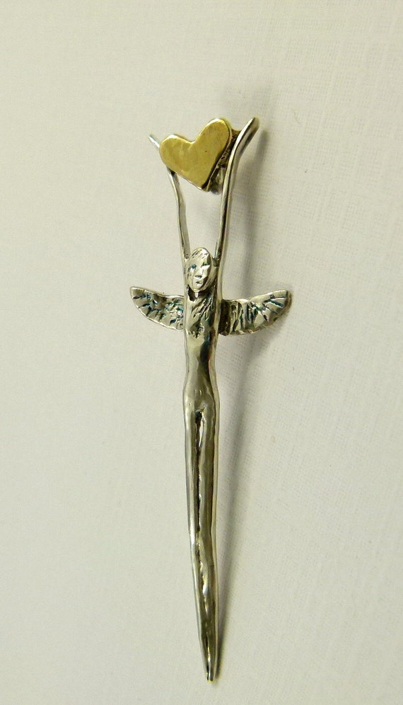 Angel Lexi Offers Her Love And Friendship - Repurposed Sterling Fork Tine, Brass, And PMC - Art Jewelry Pendant - 871