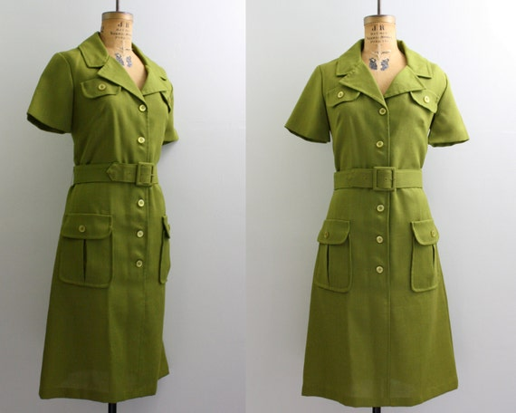 70s dress / 1970s green dress / autumn dress