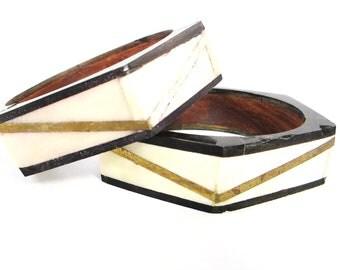 Vintage Bohemian Bangle Bracelet Set, Natural Bone and Wood Bangles