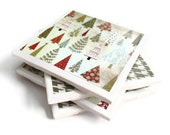 Ceramic Tile Coasters Set of Four Felt Backing Christmas Green