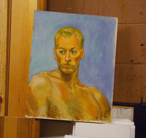 GREAT late 1940s Original Oil Painting PORTRAIT of Chiseled Face Man HANK midCentury Hollywood Regency style 1 of a Huge Estate Collection