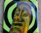 Zombie Tiki Man Mini Canvas Magnet 4x4