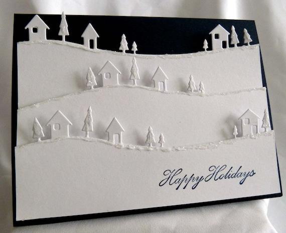 White navy blue christmas card for Elegant homemade christmas cards