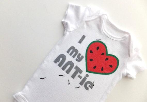 I Heart my ANT-ie Onesie (Watermelon red with Grays) 0-3M Baby Bodysuit -- Love my Aunt