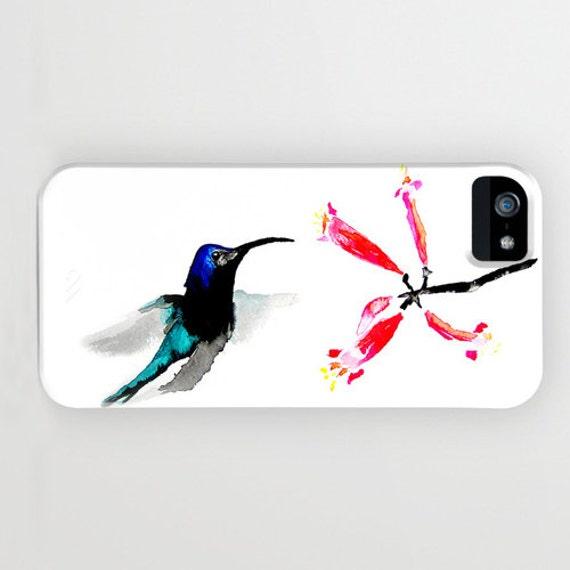 Floral Phone Case - Hummingbird Painting - Designer iPhone Samsung Case