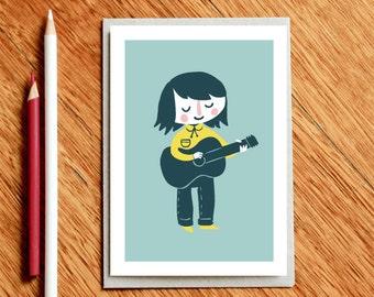 Guitar Girl, Musician Card, Musician Gift, Music Gift, Card For Musician, Card for Her, Guitar Card, Card for Girlfriend, Girlfriend Card