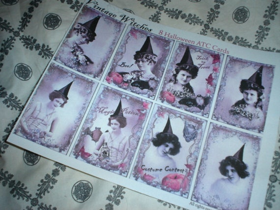 100% Silk Antiqued Beautiful Witches on Fabric Victorian Cottage Chic Halloween