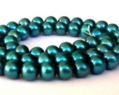 Gorgeous grade AA teal freshwater pearls, about 6mm, green pearls, teal green pearls, full strand
