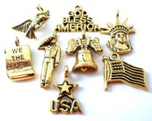 8 USA patriotic charms, high quality July 4 charms, antiqued gold, lead safe pewter