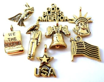 8 USA patriotic charms, high quality July 4 charms, God Bless America, military, army, liberty bell, antiqued gold, lead safe pewter