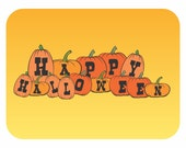 Typography Art Print - Happy Halloween - holiday fun pumpkin patch lettering wall art black white orange yellow ombre or custom colors