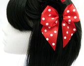 Red Bow With White polka dots,Heart & Black Ruffle flowers on a comb Pinup Rockabilly Burlesque