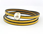 Mustard triple wrapped leather bracelet with sphere magnetic clasp