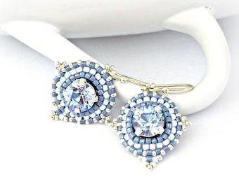 Monaco blue beaded earrings