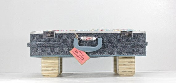 Large Upcycled Blue Suitcase Pet Bed - Handmade Wood Legs
