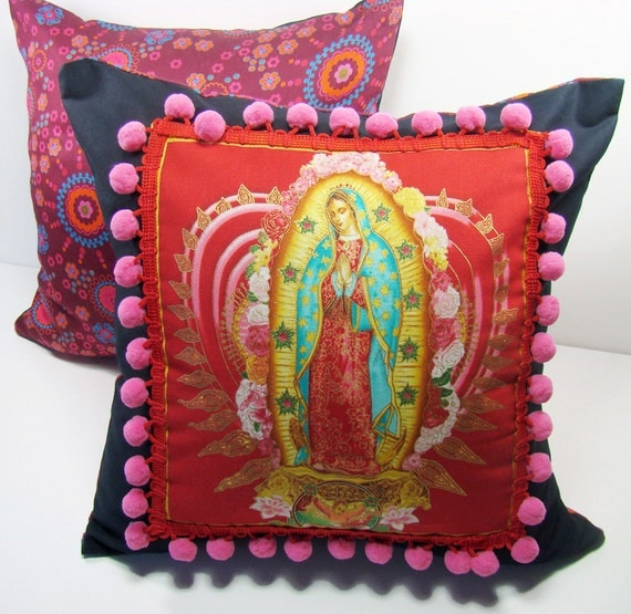 Our Lady of Guadalupe Decorative Red Cushion Cover with Pink Pom Poms