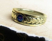 Engraved Sapphire Ring,18k Gold, Celtic Wedding Band, Men's, Unisex...  Oxidized Leaf Engraving, Genuine Gemstone