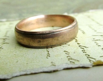 Rustic Handmade Gold Wedding Band in 14k Rose Gold, Comfort Fit, Engraved, Oxidized Antique Patina... 6 x 2mm by James Christian