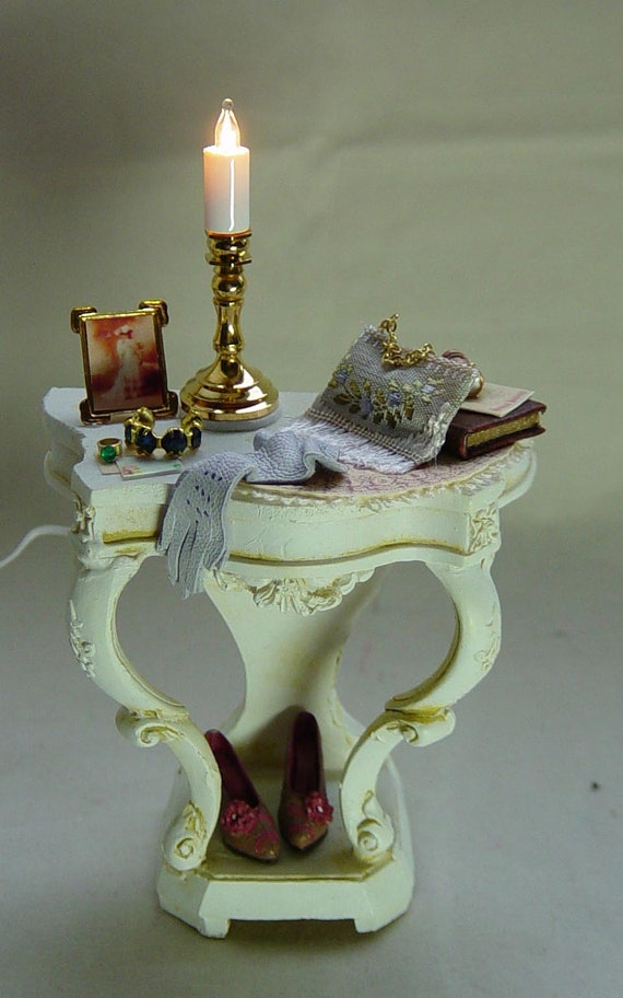 Dolls house miniature Ladies Filled Hall table.... just back from the Opera.....