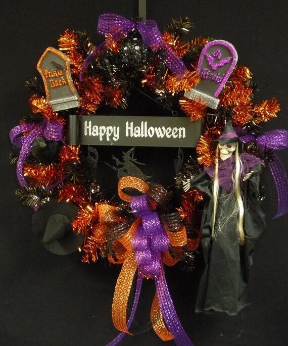 Happy Halloween, Poly Mesh Wreaths, Halloween Wreath, Black Orange Purple Wreath, Wreaths for Doors - Item 395