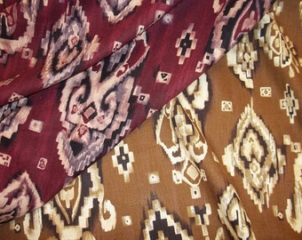 Beautiful Southwestern Motif Cotton/Linen Fabric - In Your Choice of 2 Colors