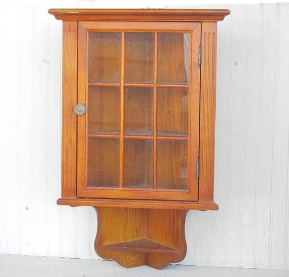 wooden wall hanging corner cabinet curio display. Black Bedroom Furniture Sets. Home Design Ideas