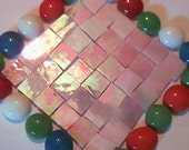 100 Pink reflection iridescent  Mosaic Stained Glass Tiles 1/2 inch handcut tile