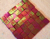 100 Red iridescent  Mosaic Stained Glass Tiles 1/2 inch handcut tile