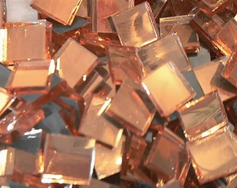 100 Champagne Mirror Handcut  Mosaic Glass Tiles 1/2 inch art craft hobby