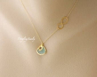 Infinity Necklace, Personalized Initial Necklace, Sister Necklace, Bridesmaid Gift, Gold fill, Sterling silver Necklace