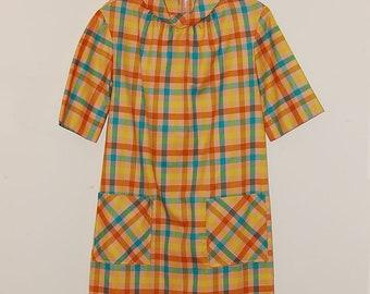 SALE: Plaid Day Dress with Pockets, Sz S/M, 1960s, Mod, Mad Men Era