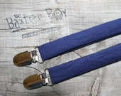 Solid Navy little boy matching suspenders - photo prop, wedding, ring bearer, accessory, navy blue