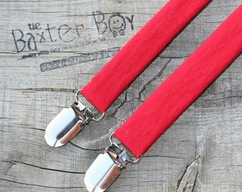 Solid bright red suspenders, little boy suspenders - ring bearer, photo prop, wedding