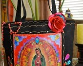 Virgen de Guadalupe Black Canvas Tote Rhinestones  Rosary