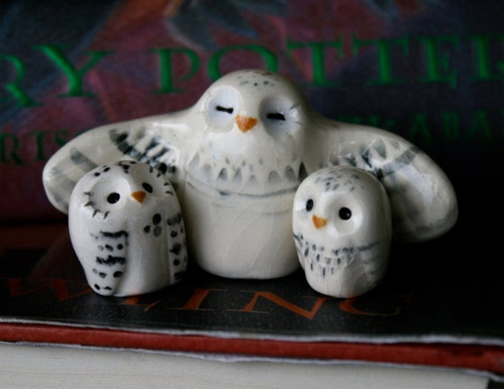 Snowy Clay Owl Family- Harry Potter Inspired Owlery Hedwig Miniature
