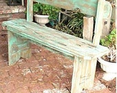 PARK BENCH - FRee SHiPPiNG - Country Primitve - Distressed TURQUOISE Option - 42'' Mud Room / Porch / Patio / Garden Bench - C Pics & Dtails