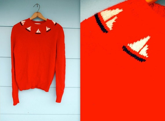 RESERVED. 1970s. red sailboat pull over sweater. s