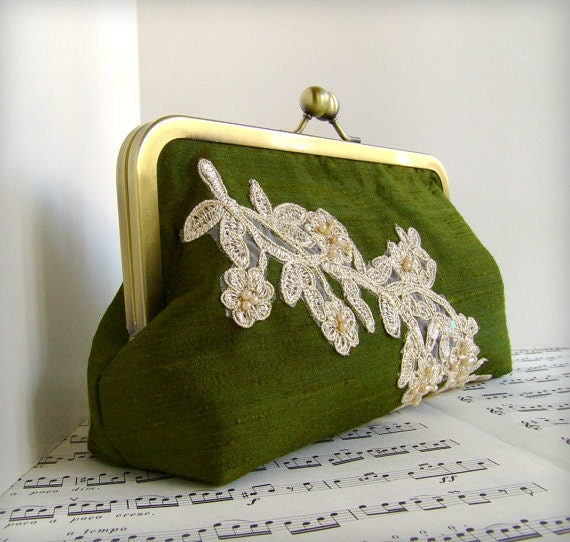 SIlk bridesmaid clutch with beaded applique in your custom wedding colors with personalization options.