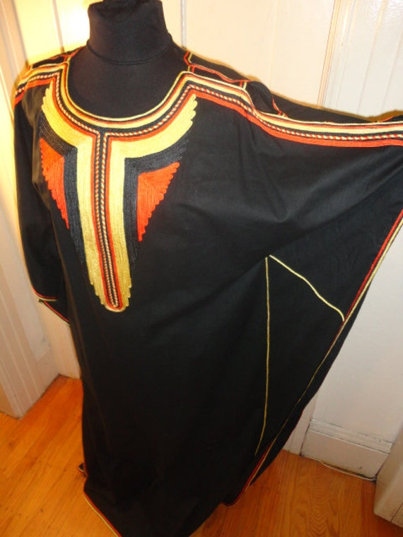 Vintage 1970's 60's  Embroidered Caftan Cult Robe Magick Morocco Ethnic Bat wing