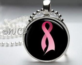 Pink Ribbon Breast Cancer Awareness Resin Bezel Pendant PC39-23